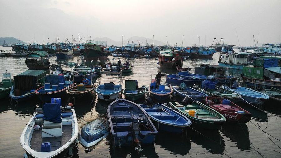Fishing boats at dusk...... Boats⛵️ Fishing Boats Cheung Chau Cheung Water Nautical Vessel Moored Day Outdoors Sea Beach