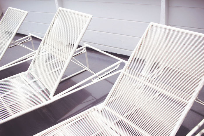 Abstract Architecture Background Backgrounds Beach Beach Chair Beachy Chairs Close-up Day Gray Grey Laying Lounge Lounge Chair Lounging Low Angle View Modern No People Outdoors Relaxing Sitting Summer White