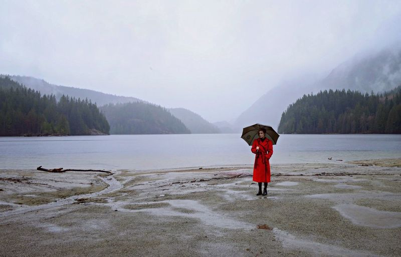 Buntzen Lake, Canada Buntzen Lake Canada Photography Red Ladyinred Beach Water Woman Umbrella Nikon D5100  Nikonphotography Nikon