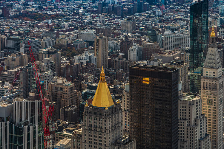 High angle view of buildings in new york city