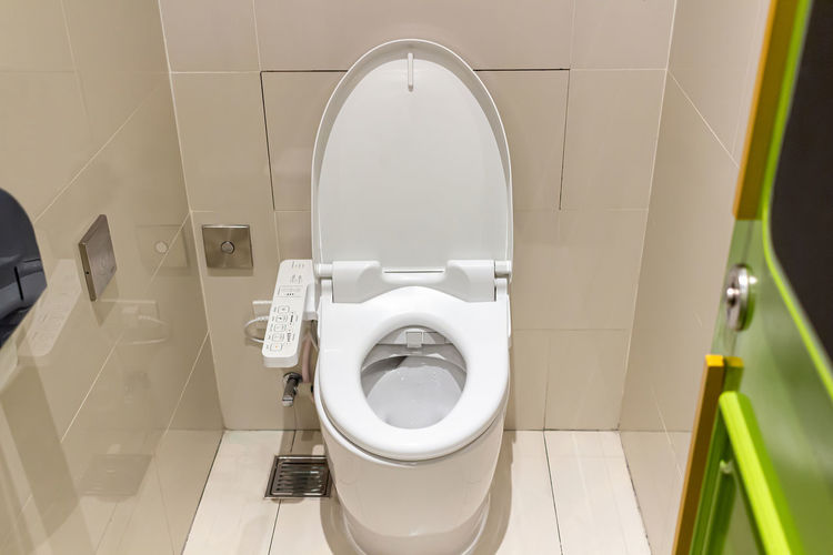 High angle view of toilet in bathroom