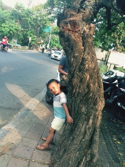 "He said, ""I am hide"" Child Childhood Full Length Tree Casual Clothing Plant Leisure Activity Real People Boys One Person Outdoors Tree Trunk"