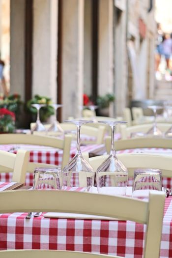Chairs and tables arranged in restaurant
