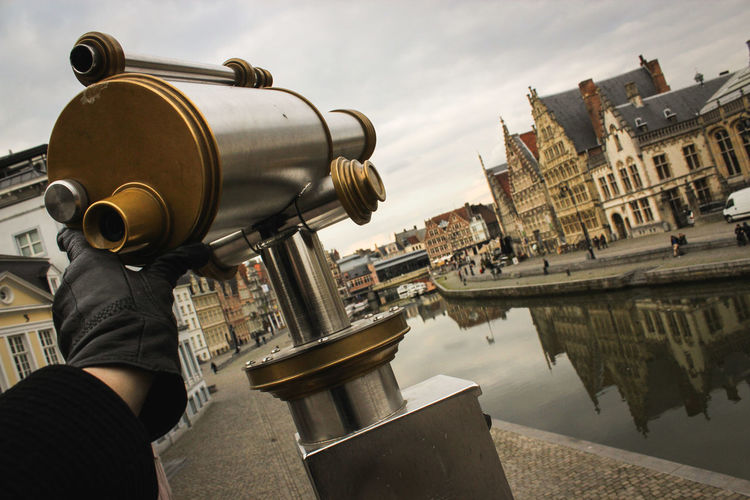 The Private Eye Ghent Reflection Binoculars Building Exterior Canal City Day Europe Hand Human Hand Tourism Travel Vintage