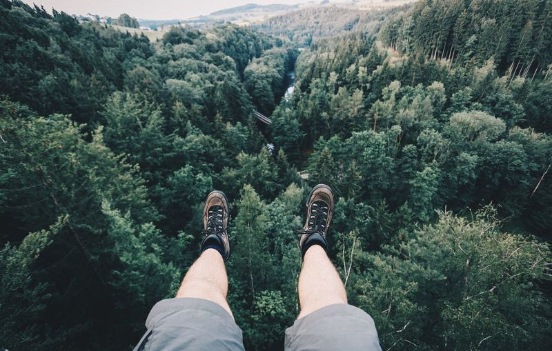Low Section Of Man Dangling Legs Against Trees In Forest At Erzgebirge