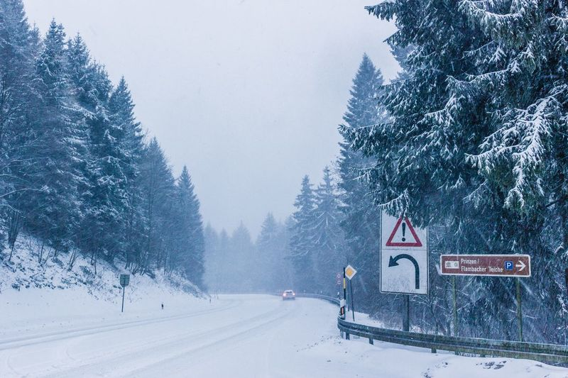 Snowy road. Snow Winter Cold Temperature Weather Nature Tree Beauty In Nature Frozen Transportation Scenics Snowing White Color Day The Way Forward Tranquility Road Tranquil Scene Outdoors Landscape Road Sign Shades Of Winter