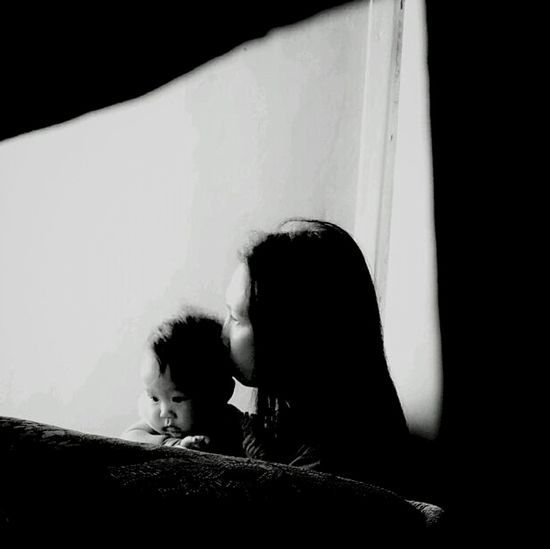 Day 1 100happydays challenge .. early morning bonding of my mom and niece. candid and sweet Black And White Silhouette Enjoying Life