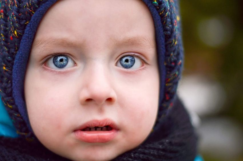 EyeEm Selects Child Children Only Childhood Eye Human Face Human Body Part Portrait Eye Color Winter Outdoors Looking At Camera People One Person