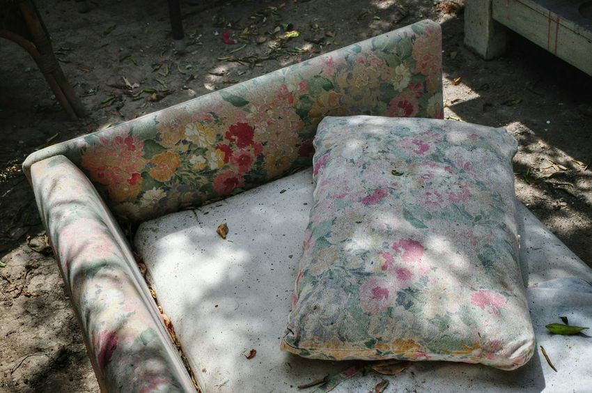 Old But Awesome Couch Pattern High Angle View Messy Dirty Couchlife From My Point Of View View From Above Bad Condition Abandoned Damaged Beauty In Nature Pattern Design Patterns & Textures Flowers Sunlight And Shadow Malephotographerofthemonth The Past