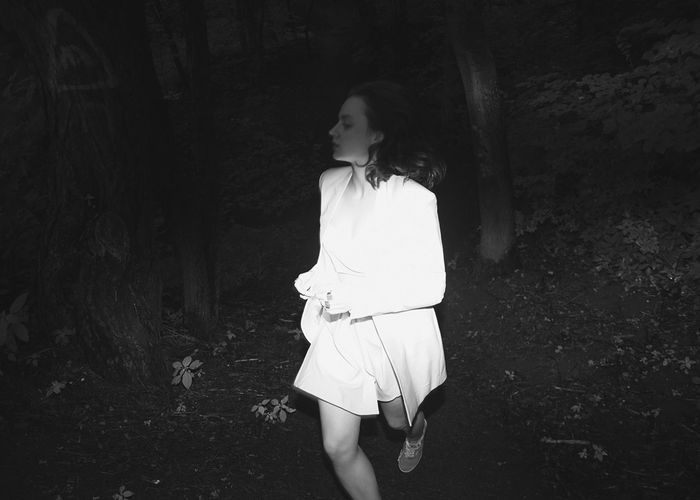 Searching for a Rabbit Hole Black And White White Dress Running Girl Fashion Woods Trees Forest Dark Flashlight Brunette Bushes Model Linas Was Here