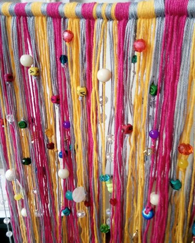 Cotton yarn curtain Crafts Multi Colored Backgrounds No People Indoors  Yarn Beeds EmNewHere