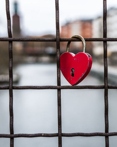 Love happens only once. Streetphotography Stockholm Street Valentine's Day  Heart Bokeh Travel Photography Heart Shape Love Security Valentine's Day - Holiday Safety Red Protection Lock Romance