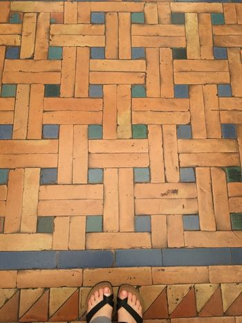 Standing Close-up Flooring Medieval Architecture Ancient Floor Tiled Floor Indoors  Pattern Human Leg Multi Colored Personal Perspective Decoration
