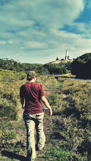 Hiking towards one of Rottnest Island's two Lighthouses. Landscape