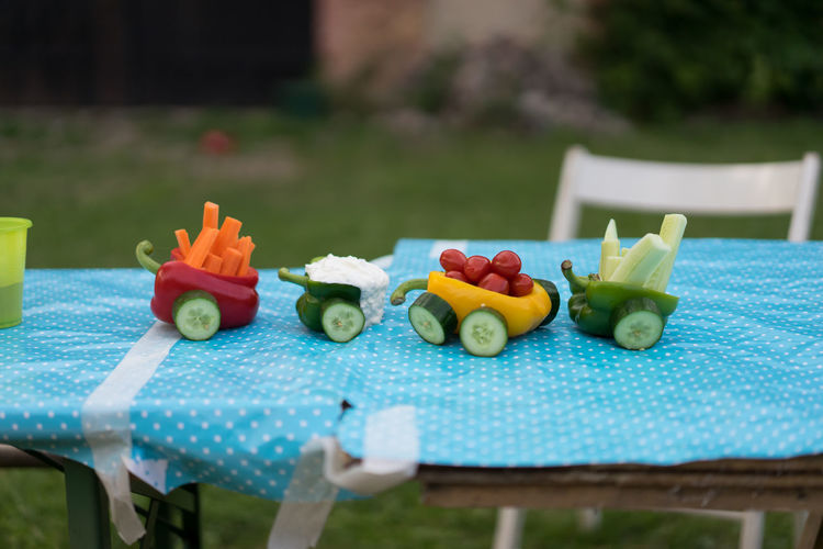 Close-up of miniature train made with vegetables