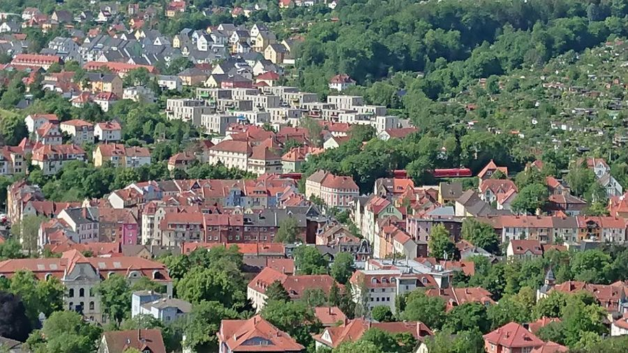 High angle view of townscape and trees in town