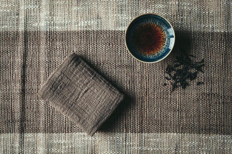 Zen and Tea Calm Cool Mat Meditation Tea Black Tea Ceramics Chinese Culture Cup Dao Food And Drink Tea Leaves Textile Traditional Zen