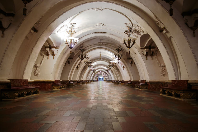 Empty Illuminated Subway At Metro Station