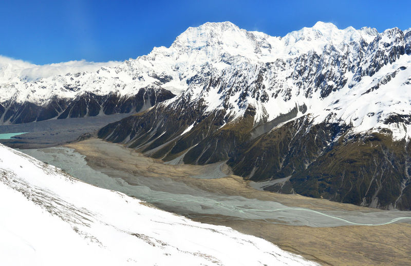 Scenic view of snowcapped mountains at mt cook national park