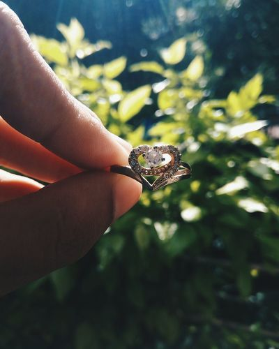Close-up of hand holding heart shaped ring