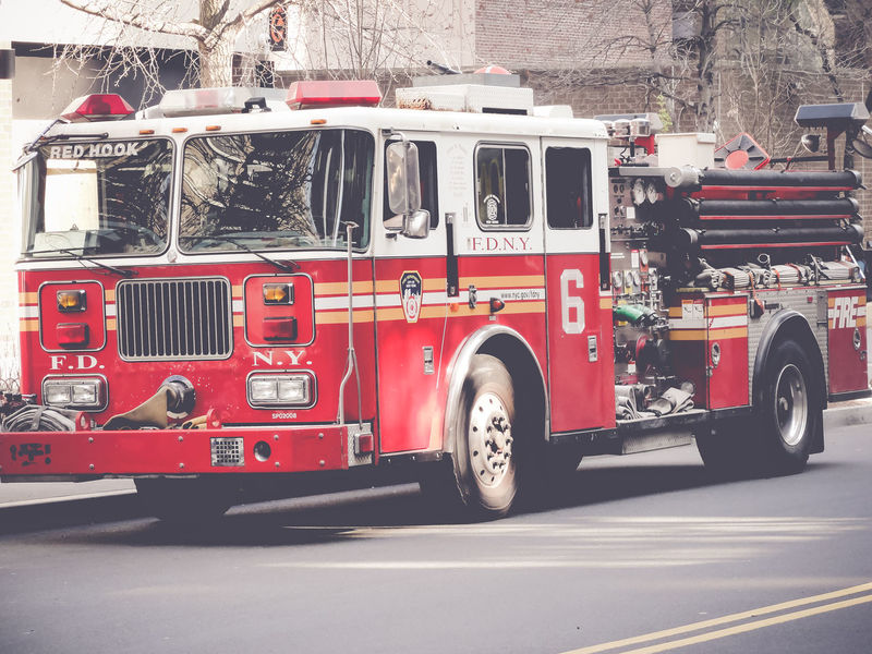 New York City fire truck Transportation Land Vehicle Mode Of Transportation Truck Red City Fire Engine Accidents And Disasters Motor Vehicle Street Emergency Services Occupation Rescue Architecture Occupation Road Firefighter Protection Day Commercial Land Vehicle Car Rescue Worker New York City