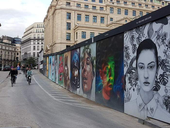 World People Wall Brussels HUMANITY Cycling