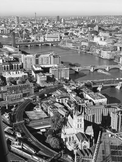 Panoramic black and white view from The Sangir-La Hotel @ the Shard, London City Life Lifestyles Old-fashioned Picoftheday Day EyeEm Best Shots EyeEmNewHere Panoramic Panorama Blackandwhite Thamse Shangri-La The Shard London Water Architecture No People Built Structure Full Frame Nature Pattern Backgrounds Building Exterior Sky Day City Cityscape Building High Angle View Aerial View EyeEmNewHere