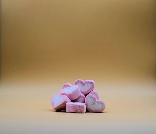 Pink white mashmallow in close up. Close-up Food Heart Shape Love Mashmallow No People Pink So