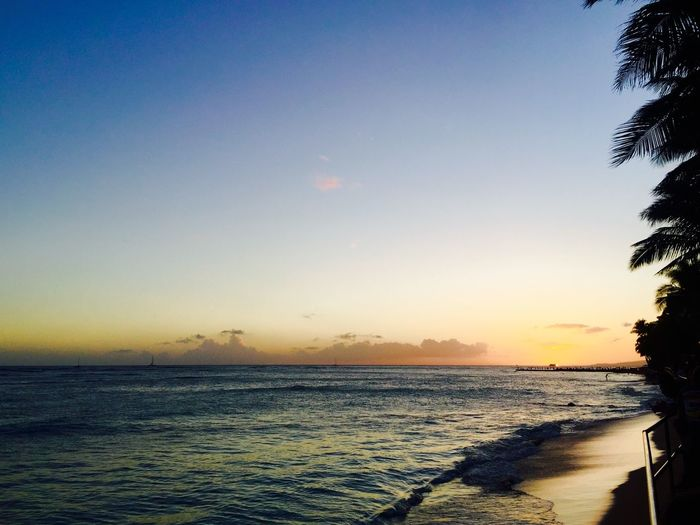 Scenic View Of Waikiki Beach Against Sky During Sunset