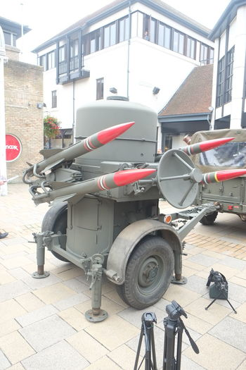 Mock missile battery, Invasion Colchester. Mock Rockets Architecture Building Exterior Built Structure Day Land Vehicle Military Missiles Mode Of Transport No People Outdoors Transportation Weapon