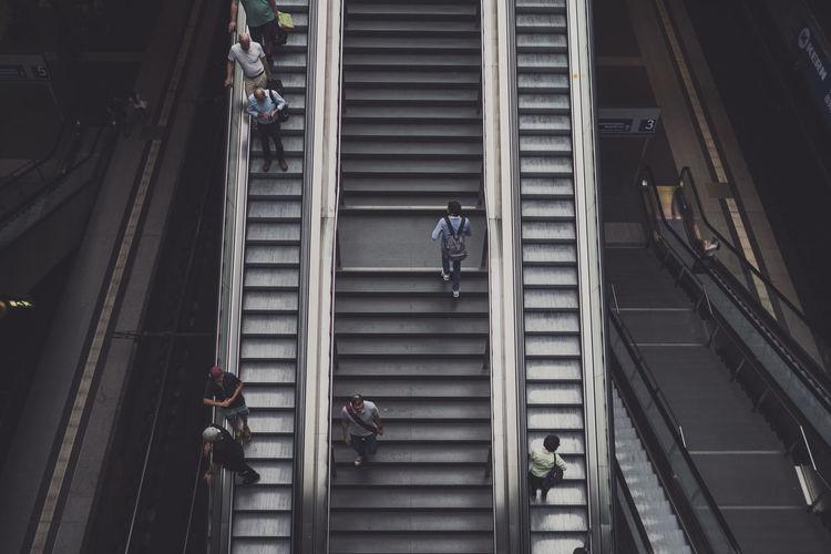 High Angle View Of People Escalators Berlin Hauptbahnhof