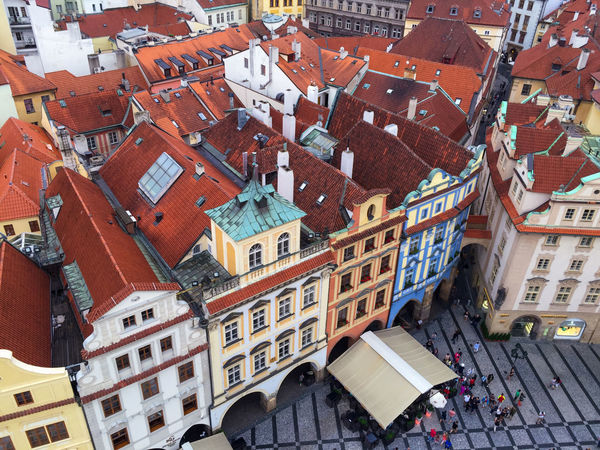 A view from Astronomical Clock in the Old Town Square / Prague Architecture Building Exterior City Color Colorful Czech Czech Republic Day Framework High Angle View Medieval Medieval Architecture No People Old Town Old Town Square Outdoors Prague Roof Rooftop Structure Top Perspective Top View Travel Travel Destinations Travel Photography