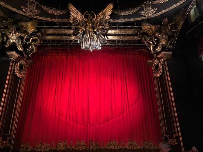 At the old theater Curtain Red Indoors  No People Stage Stage - Performance Space Arts Culture And Entertainment Hanging Lighting Equipment Built Structure Architecture Textile Absence Decoration Illuminated Stage Theater Pattern Low Angle View Nature Theatrical Performance