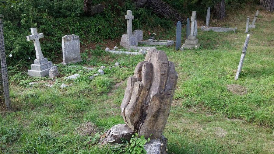 Tombstones on grassy field