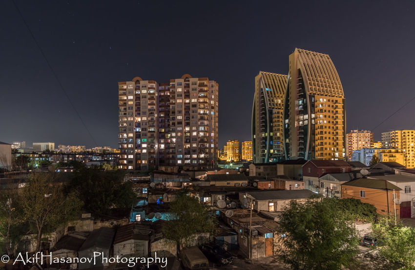 Architecture Baku Azerbaijan Building Exterior Built Structure City Cityscape Clear Sky Illuminated Night No People Residential Building Skyscraper