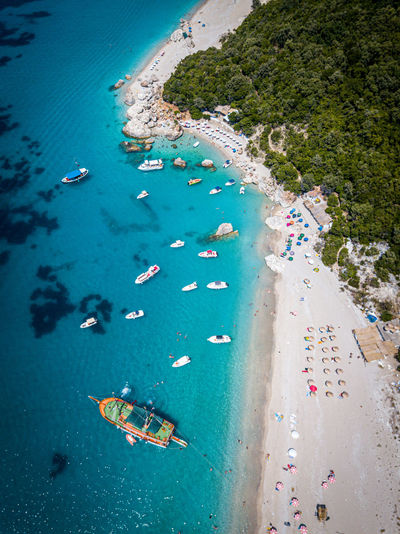 High angle view of boats on beach