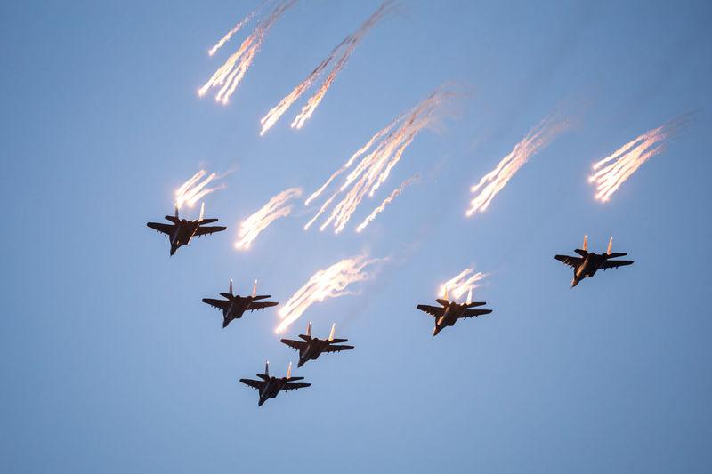 battle fighting combat planes sky parade salute firework