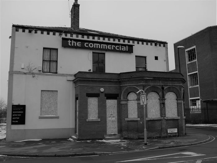 The Commercial Inn, Holbeck. Formerly run by Peter Lorimer and also the first Head Office of the trade union ASLEF. #Holbeck #Leeds #Photography Grey Day Industrial Photography Leeds, UK Abandoned Pub Architecture Black And White Photography Boat Building Exterior Derilict Building No People Outdoors