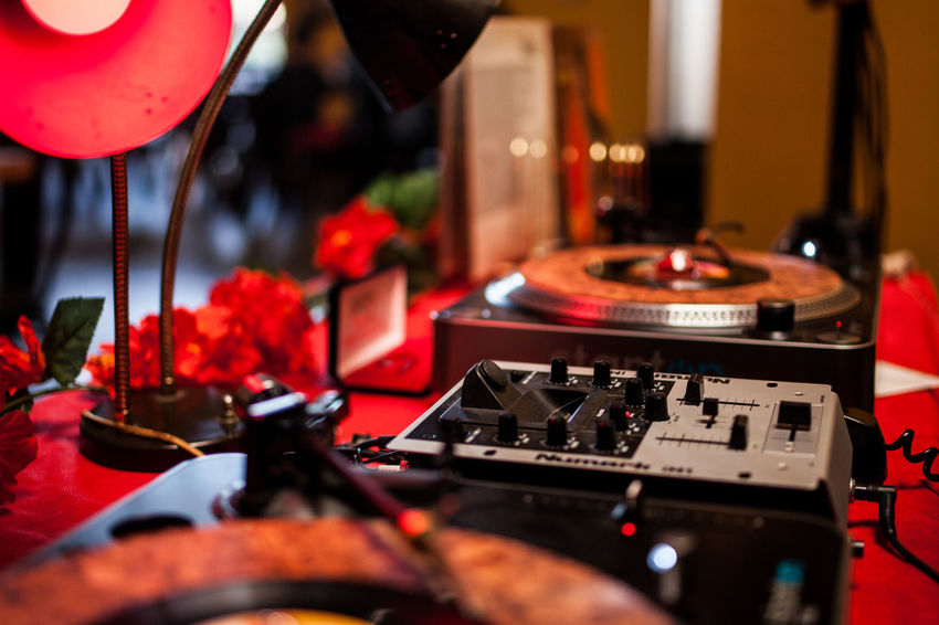 Dj Arts Culture And Entertainment Audio Equipment Close-up Electric Lamp Indoors  Mixing Music Night Nightclub Nightlife No People Party - Social Event Record Red Selective Focus Sound Mixer Sound Recording Equipment Technology Turntable