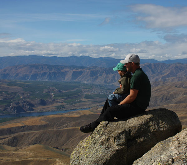 Above Above It All Adventure Backpack Casual Clothing Climate Desert Deserts Dry Dry Climate Father Hiking Landscape Leisure Activity Lifestyles Mountain Mountain Range River River View Tourism Tourist Travel Travel Destinations View View From Above Be. Ready.