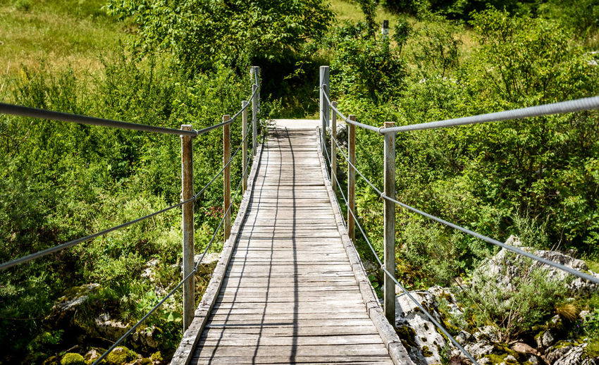 Wooden hanging bridge leading forward over green mountain river. Idyllic mountain river - Lepena valley, Soca – Bovec, Slovenia. Beautiful landscape scene with forest, mountains and river in Slovenia, Europe. Green Lepena Slovenia Wooden Bridge Bovec Bridge Day Direction Footbridge Fresh Water Hanging Bridge Idylic Landscape Mountains Nature No People Outdoors River Scenery Slovenian Alps Soca Stream The Way Forward Tree Triglav