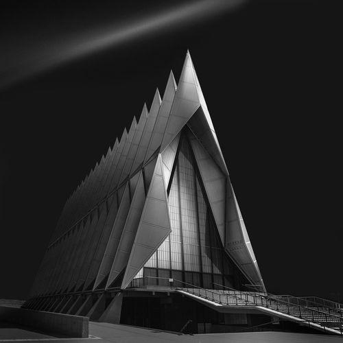 Air Force Academy Chapel Chapel Colorado Springs, CO Architecture Black And White Black And White Photograph Building Exterior Built Structure Colorado River Futuristic Modern No People Outdoors Us Air Force Academy Chapel