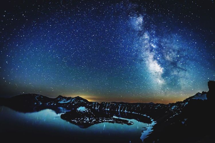 Milky Way Over Crater Lake Night Star - Space Astronomy Beauty In Nature Nature Scenics Galaxy Milky Way Mountain Sky Tranquility Outdoors Space Blue Illuminated Winter Landscape Constellation Snow No People Lost In The Landscape