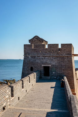 Ancient History Archaeological Site Architecture Castle Great Wall Hebei Sunlight Tourist Attraction Blue China Chinese Clear Sky Day Fort Fortification Historic Site History Landmark Military Nature Qinhuangdao Sea Shanhaiguan Water