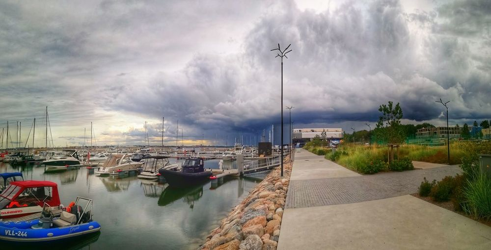 No People Thunderclouds Thunderstorm Storm Cloud Stormy Weather Storm Water Nautical Vessel Sea Sailing Ship Harbor Beauty Beach Panoramic Sky Cloud - Sky Boat Ship Sailboat Water Vehicle Sailing Yacht