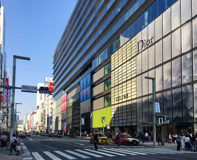 Ginza Six, Tokyo, Japan Ginza Tokyo Japan Ginza Six Ginza 6 Ginza Architecture Building Exterior Built Structure City Street Group Of People Transportation Sky Men Real People Building City Life Day Outdoors