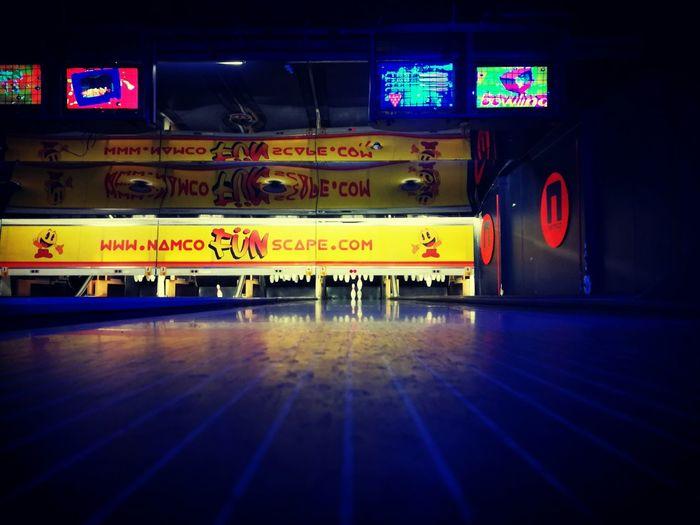 Illuminated No People Text Night Bowling Alley London Namco Arcade Transportation Indoors  Communication