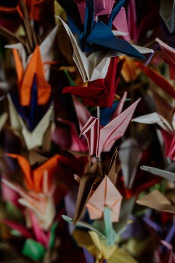 Full frame shot of multi colored origami