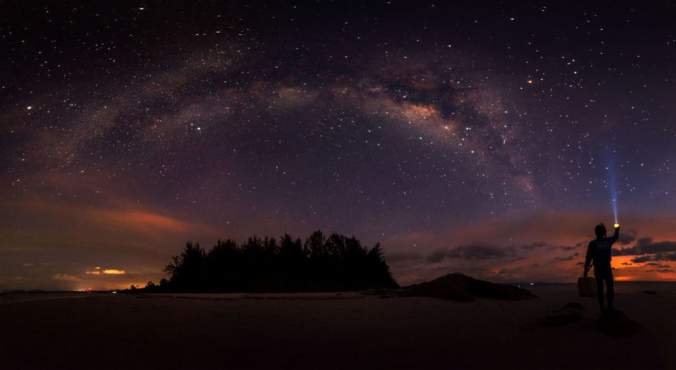 Panorama Milky Way Star - Space Night Sky Space Astronomy Scenics - Nature Beauty In Nature Galaxy Silhouette Tranquil Scene Land Nature Tranquility One Person Standing Star Milky Way Star Field Cloud - Sky Outdoors