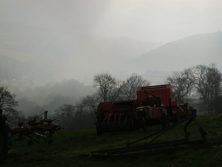 Agriculture Scenics Landscape Outdoors No People Silence Of Nature Multi Colored Tractor Love Tranquil Scene Tranquil Scene Outdoors Eyeemphotography EyeEmbestshots Cold Temperature Valleyside Beauty In Nature Winter Weather Change Idyllic Environment Grass Fine Art Photograhy Sky Nature Agriculture Silhouette